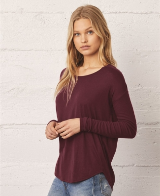 Bella 8852 Womens Long Sleeve Flowy T-Shirt With Ribbed Sleeves Catalog