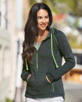 8876 J. America - Women's 1/2 Zip Triblend Hooded Sweatshirt