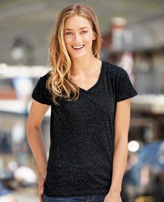 J America 8136 Women's Glitter V-Neck T-Shirt