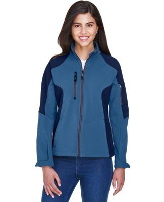 North End 78077 Ladies' Compass Colorblock Three-Layer Fleece Bonded Soft Shell Jacket BLUE RIDGE