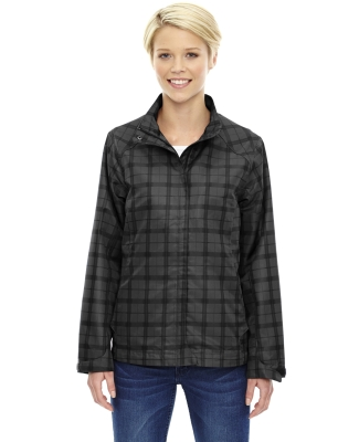 78671 Ash City - North End Sport Blue Ladies' Locale Lightweight City Plaid Jacket BLACK