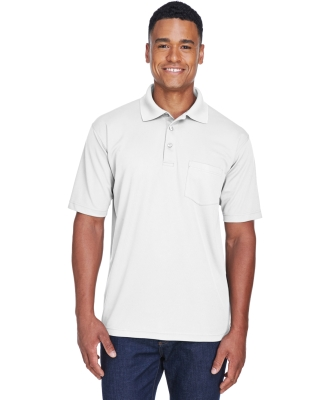 8210P UltraClub® Adult Cool & Dry Mesh Piqué Polo with Pocket WHITE