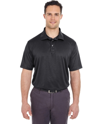 8220 UltraClub Men's Cool & Dry Jacquard Stripe Polo BLACK