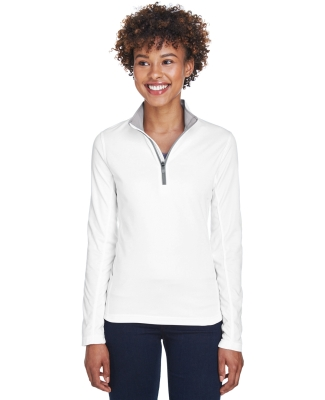 UltraClub 8230L Ladies' Cool & Dry Sport Quarter-Zip Pullover WHITE