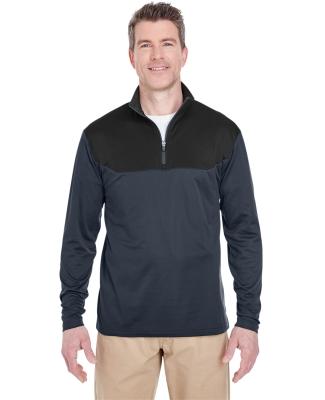 UltraClub 8233 Adult Cool & Dry Sport Colorblock Quarter-Zip Pullover FLINT/ BLACK