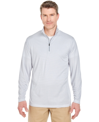 UltraClub 8235 Adult  Striped Quarter-Zip Pullover WHITE