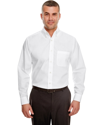 8330 UltraClub® Men's Blend Performance Poplin Woven Shirt WHITE