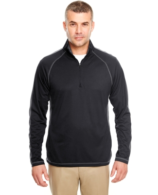 8398 UltraClub® Adult Cool & Dry Sport 1/4-Zip Performance Pullover  BLACK/ CHARCOAL