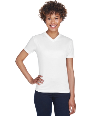 8400L UltraClub® Ladies' Cool & Dry Sport V-Neck Mesh Performance Tee WHITE