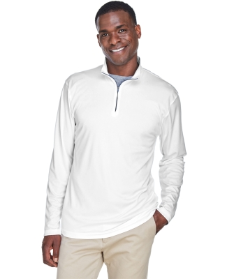 UltraClub 8424 Men's Cool & Dry Sport Performance Interlock Quarter-Zip Pullover WHITE