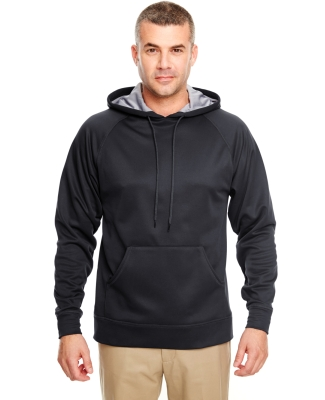 8441 UltraClub® Adult Cool & Dry Elite Sport Hooded Performance Fleece  BLACK/ STEEL