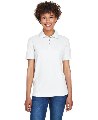 8541 UltraClub® Ladies' Whisper Pique Blend Polo WHITE