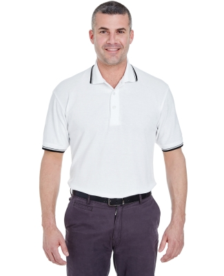 8545 UltraClub® Men's Short-Sleeve Whisper Pique Blend Polo with Rib Collar and Cuff Tipping   WHITE/ BLACK