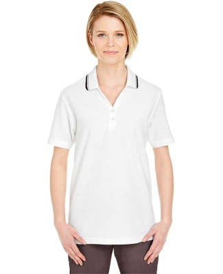 8546 UltraClub® Ladies' Short-Sleeve Whisper Pique Blend Polo with Rib Collar WHITE/ BLACK