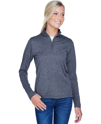 UltraClub 8618W Ladies' Cool & Dry Heathered Performance Quarter-Zip NAVY HEATHER