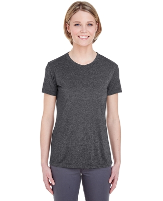 UltraClub 8619L Ladies' Cool & Dry Heathered Performance T-Shirt BLACK HEATHER