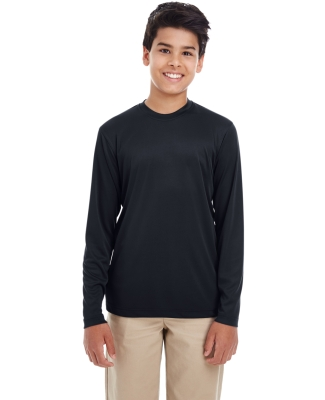 UltraClub 8622Y Youth Cool & Dry Performance Long-Sleeve Top BLACK