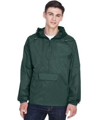 8925 UltraClub® Adult 1/4-Zip Hooded Nylon Pullover Pack-Away Jacket FOREST GREEN