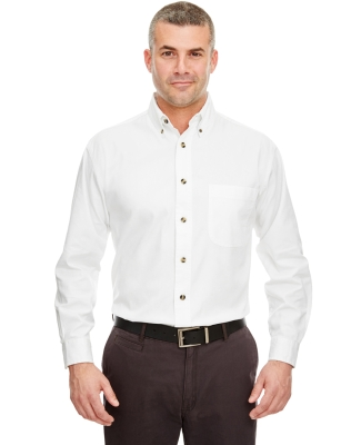 UltraClub 8960C Adult Cypress Long-Sleeve Twill with Pocket WHITE