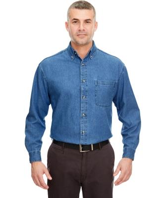 8960T UltraClub® Men's Tall Long-Sleeve Cotton Cypress Denim Woven Shirt with Pocket  INDIGO