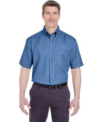 8965 UltraClub® Adult Short-Sleeve Cotton Cypress Denim Woven Shirt with Pocket  INDIGO