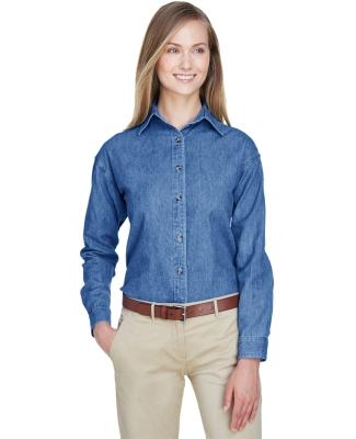 8966 UltraClub® Ladies' Long-Sleeve Cotton Cypress Denim Woven Shirt  INDIGO