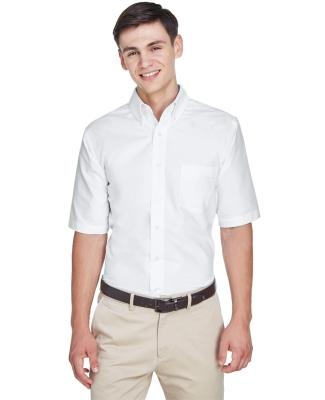 8972 UltraClub® Men's Classic Wrinkle-Free Blend Short-Sleeve Oxford Woven Shirt WHITE
