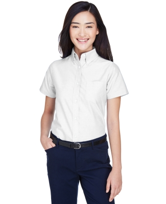 8973 UltraClub® Ladies' Classic Wrinkle-Free Blended Short-Sleeve Oxford Woven Shirt  WHITE