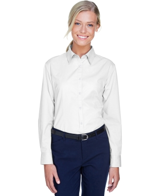8976 UltraClub® Ladies' Whisper Twill Blend Woven Shirt  WHITE