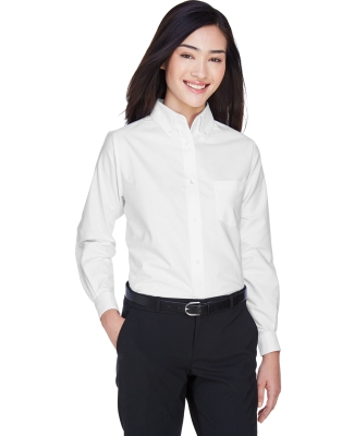 8990 UltraClub® Ladies' Classic Wrinkle-Free Blend Long-Sleeve Oxford Woven Shirt  WHITE