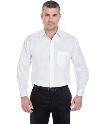 8991 UltraClub® Men's Whisper Elite Twill Blend Woven Shirt  WHITE