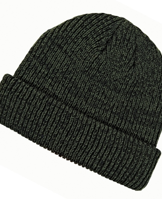 BA524 Big Accessories Ribbed Marled Beanie OLIVE/ BLACK