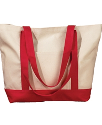 BE004 BAGedge 12 oz. Canvas Boat Tote NATURAL/ RED