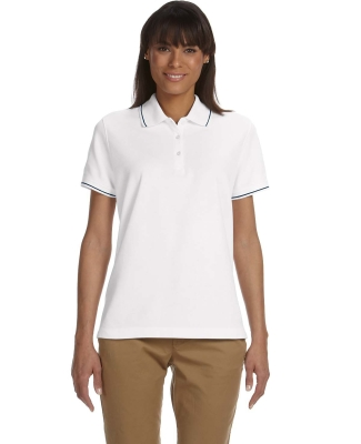 D113W Devon & Jones Ladies' Pima Piqué Short-Sleeve Tipped Polo WHITE/ NAVY