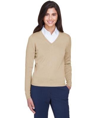 D475W Devon & Jones Ladies' V-Neck Sweater STONE