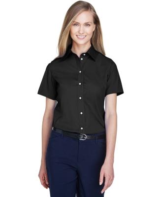 D620SW Devon & Jones Ladies' Crown Collection™ Solid Broadcloth Short-Sleeve Shirt BLACK