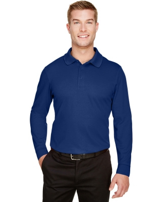 Devon and Jones DG20LT CrownLux Performance™ Men's Tall Plaited Long Sleeve Polo TRUE ROYAL