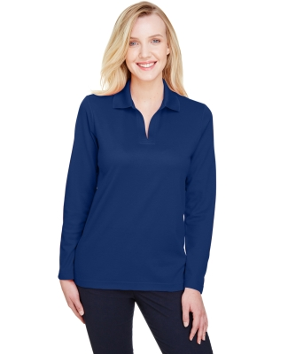 Devon and Jones DG20LW CrownLux Performance™ Ladies' Plaited Long Sleeve Polo TRUE ROYAL