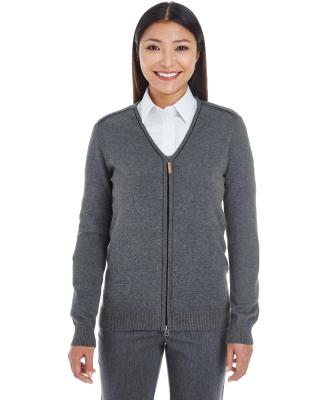 DG478W Devon & Jones Ladies' Manchester Fully-Fashioned Full-zip Sweater DK GREY HTH/ BLK