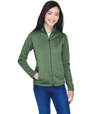 DG796W Devon & Jones Ladies' Newbury Colorblock Mélange Fleece Full-zip FOREST/ FORST HT