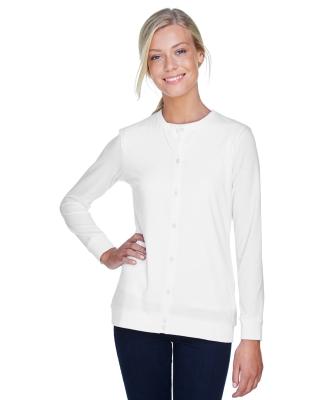 DP181W Devon & Jones Ladies' Perfect Fit™ Ribbon Cardigan WHITE