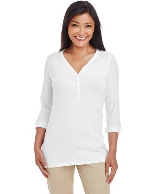 DP186W Devon & Jones Ladies' Perfect Fit™ Y-Placket Convertible Sleeve Knit Top WHITE
