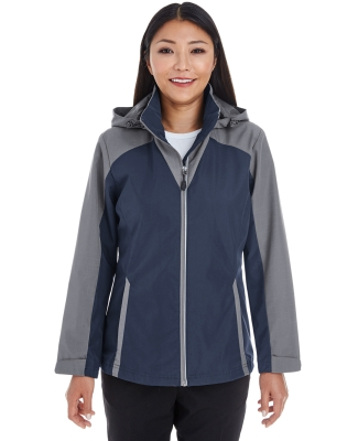North End NE700W Ladies' Embark Interactive Colorblock Shell with Reflective Printed Panels NAVY/ GRP/ GRP