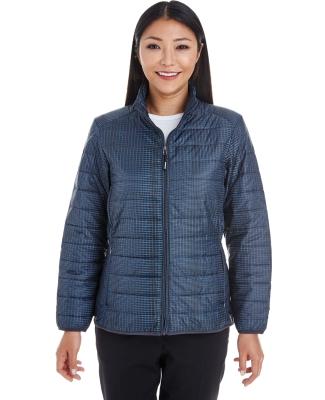 North End NE701W Ladies' Portal Interactive Printed Packable Puffer Jacket GRID