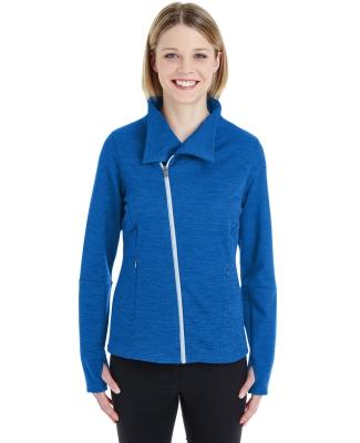 North End NE704W Ladies' Amplify Mélange Fleece Jacket NAUT BLU/ PLTNM
