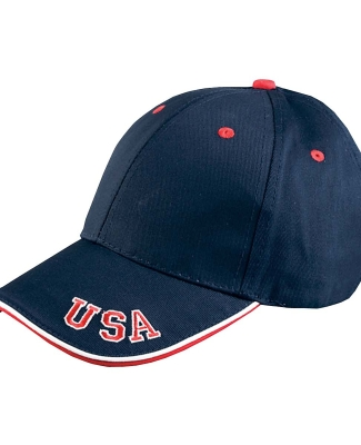 NT102 Adams Cotton Twill National Cap NAVY/ RED/ WHITE