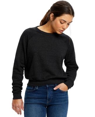 US Blanks US838 Ladies' Sponge Fleece Crop Top TRI BLACK