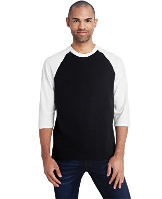 5700 Gildan Heavy Cotton Three-Quarter Raglan T-Shirt BLACK/ WHITE