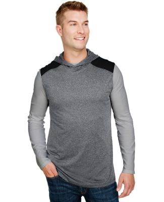 A4 Apparel N3031 Men's Tourney-Layering Sleeveless Hoodie HEATHER/ BLACK