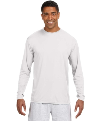 N3165 A4 Adult Cooling Performance Long Sleeve Crew WHITE